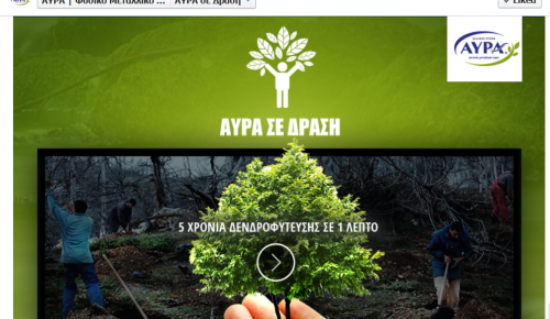 Facebook app για το περιβαλλοντικό του πρόγραμμα από το νερό ΑΥΡΑ